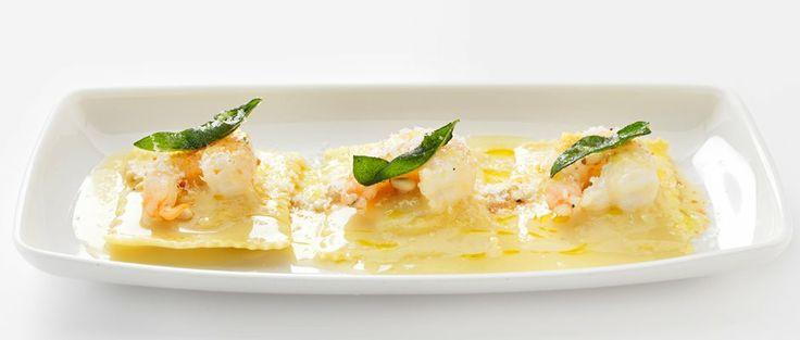 butternut squash ravioli + Prawns with crispy sage, beurre blanc, pine ...
