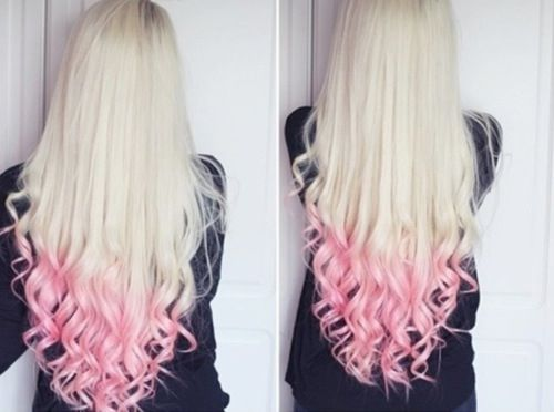 pink tips blonde hair hair beauty art pinterest