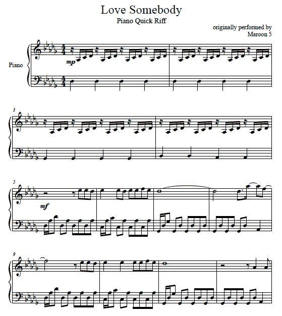 Love somebody maroon 5 printpiano free music sheets amp piano