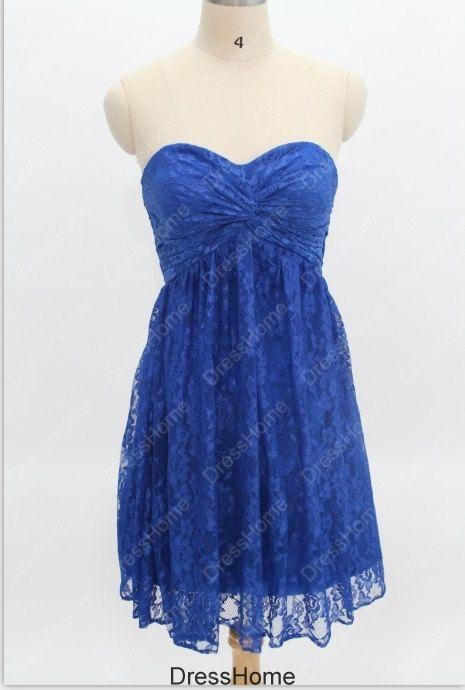 Royal Blue Lace Prom Dress