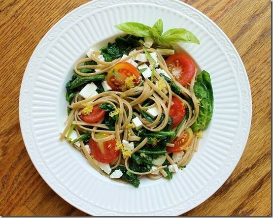 Lemon, spinach and feta linguine