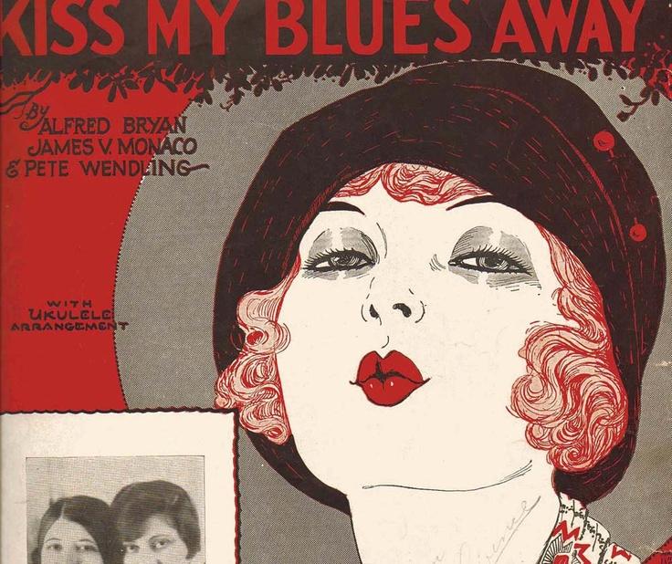 Art Deco Sheet Music For Framing Red Lips