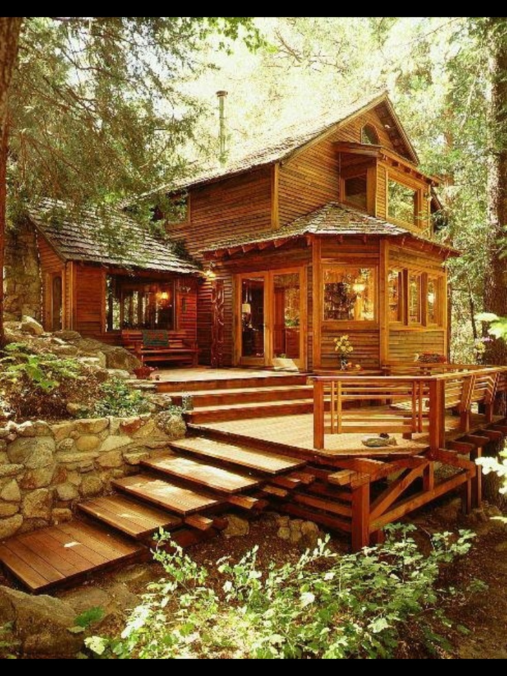 Beautiful deck wooden cabins pinterest for Wooden cabin house