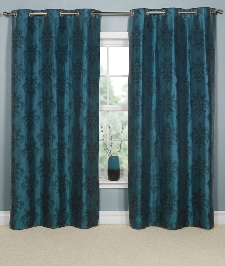 Teal And Brown Curtains Office Pinterest