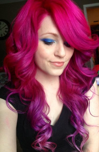 Magenta Hair And Purple Dip Dyed Curls