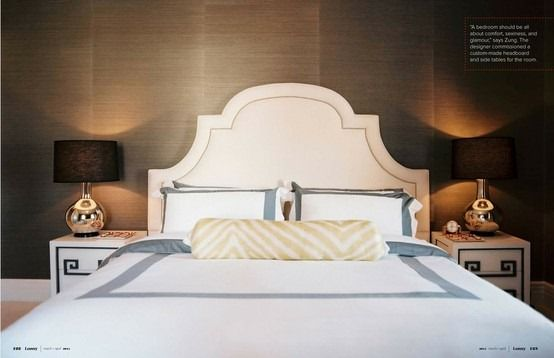 Love the headboard and the wallpaper