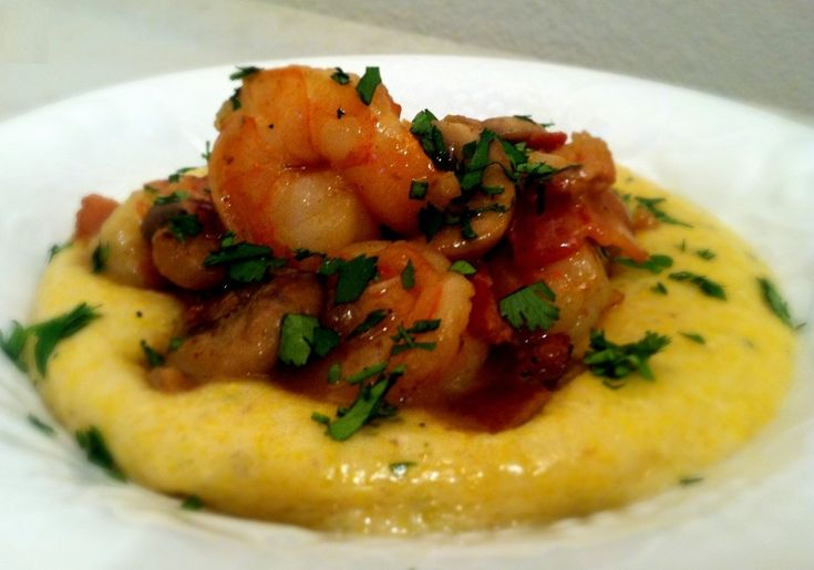 ... shrimp with creamy cheese polenta very good made with instant polenta