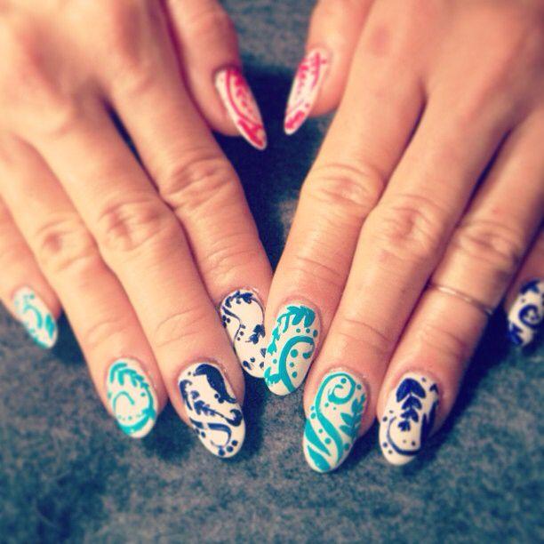 China pattern nail art | Nail Art | Pinterest