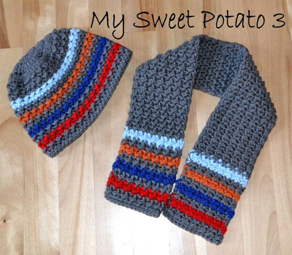 PATTERN Textured Scarf & Hat Set for Boys - Crochet