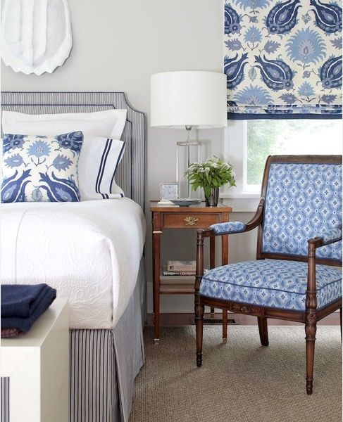 Crisp blue and white bedroom