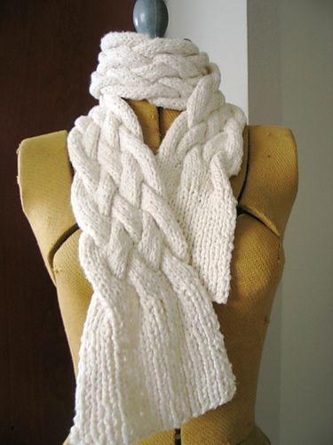 Free Knitting Pattern Chunky Cable Scarf : Chunky Braided Scarf pattern by Jimenita Knitting Hats, Scarves, an?