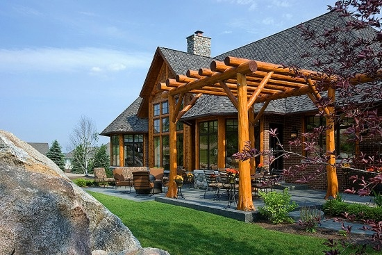Pin by town country cedar products on log homes log for Log and brick home