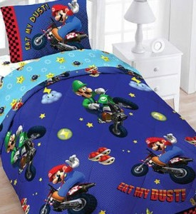 Wii Super Mario Brothers Kart Twin 4pc Bedding Set