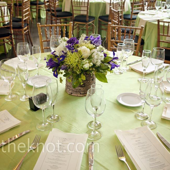 Green and purple centerpieces wedding day
