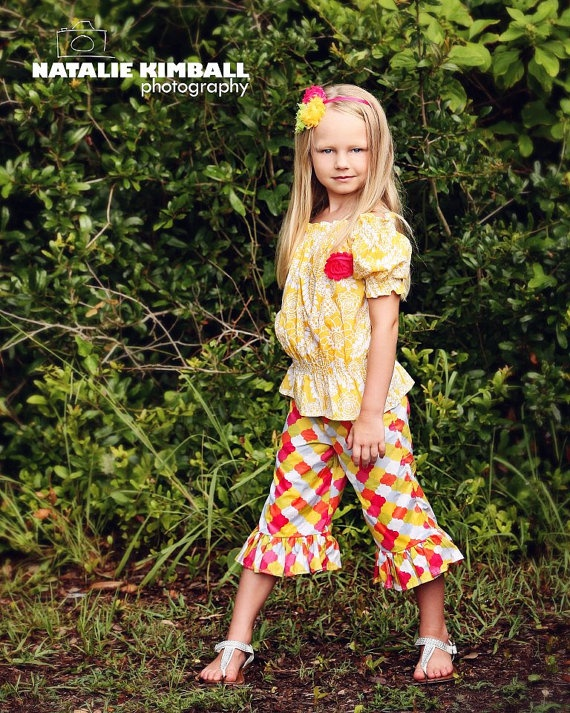 Spring Summer peasant top capris set Children by MudanBlossoms, $54.95