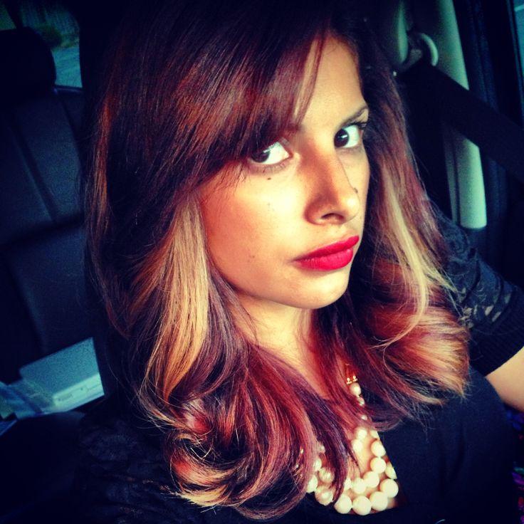 burgundy n blonde peekaboo highlites plum hair red hair | Hair ...