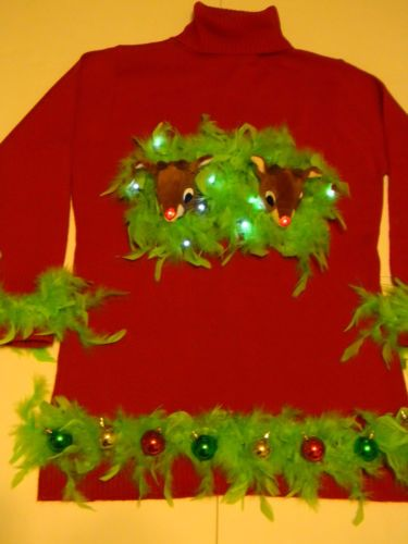 Ugly women s 3x red christmas sweater dress naughty rudolph boobs w l