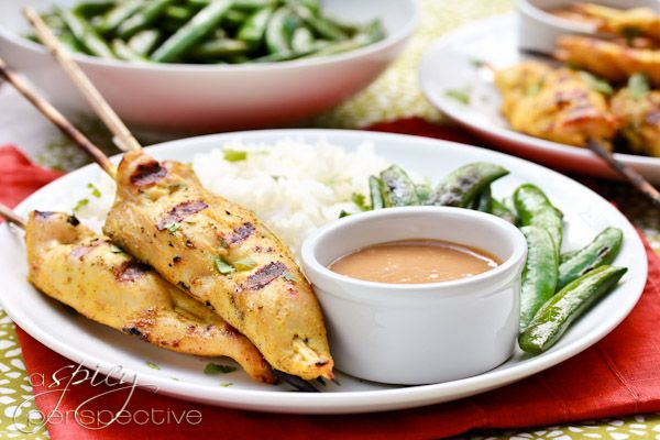 thai chicken satay with spicy peanut sauce via sommer