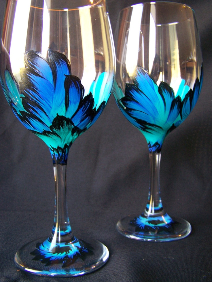 Hand Painted Wine Glasses Wings Original Design
