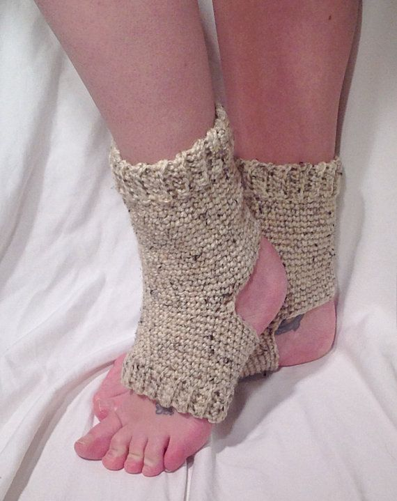 Crochet Yoga Socks : Oatmeal Flecked Crochet Yoga Socks by DapperCatDesigns on Etsy, $26.00