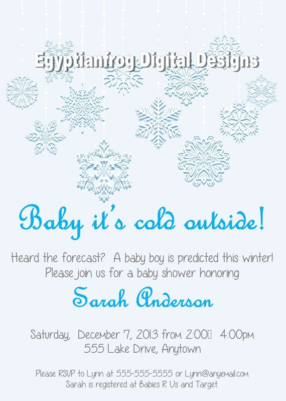 snowflake winter baby shower invitation by egyptianfrogdesigns