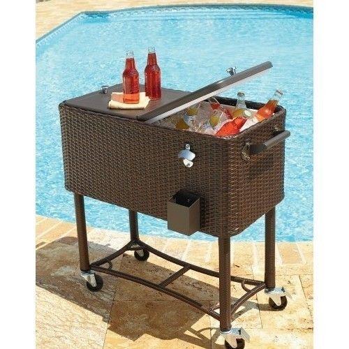 Rolling patio cooler wicker outdoor deck 80 quart