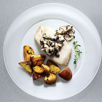 Pan roasted sablefish (black cod) with mushrooms and sour cream. Black ...