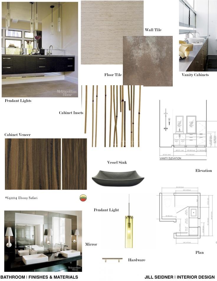 Concept board for a spa bathroom jill seidner interior for Bathroom design board