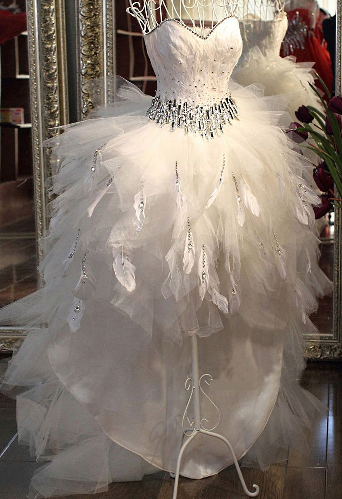 FEATHERS SHORT FRONT LONG BACK Bride Wedding Dress Diamonds Gown ALL