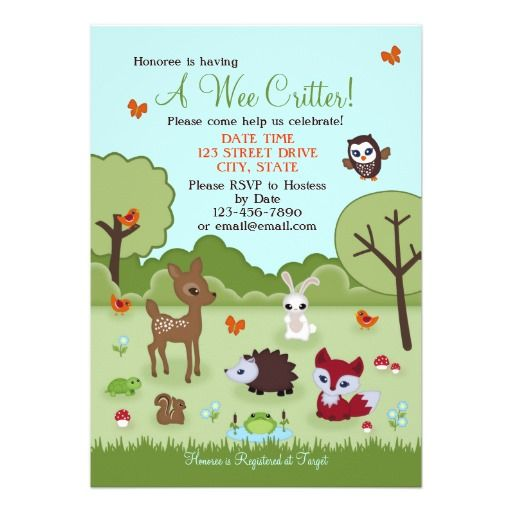 Little critters woodland baby shower invites featuring a baby deer