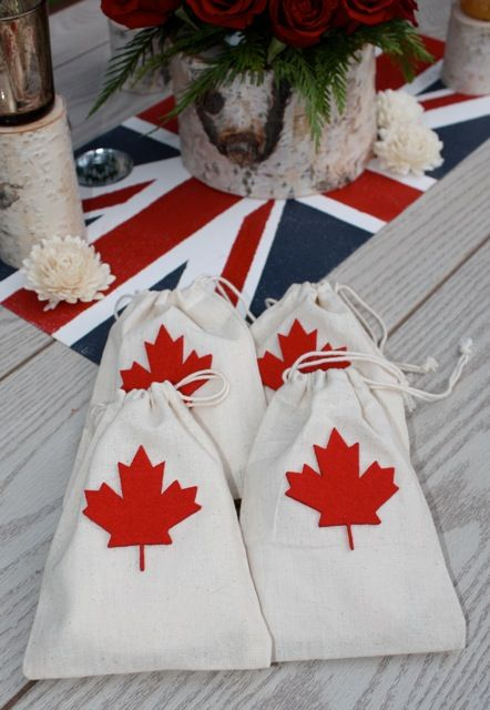 Canada theme wedding favor bags Wedding ideas! Pinterest