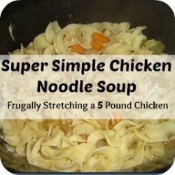 super simple chicken noodle soup frugally stretching a 5 pound chicken
