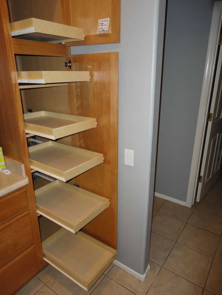 Slide out pantry shelves pull out pantry shelves pinterest - Roll out shelving for pantry ...