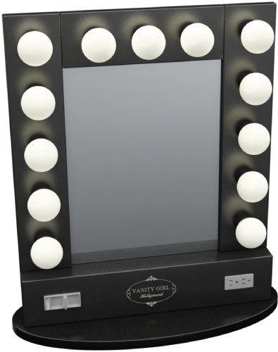 broadway table top lighted vanity mirror 27 x 13 black frame. Black Bedroom Furniture Sets. Home Design Ideas