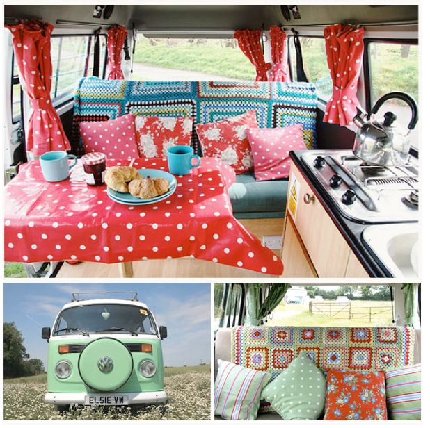 red with white polka dots, VW, crochet.