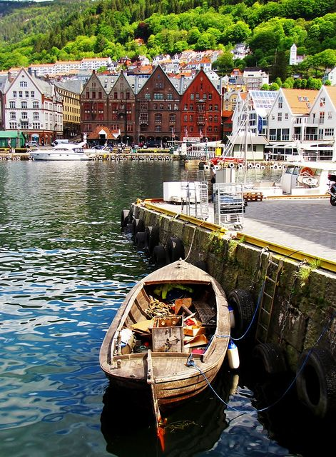 Bergen's harbour in the summer time, Norway