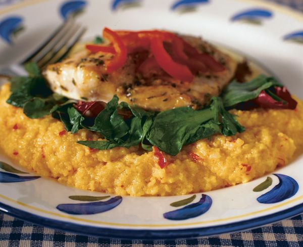 red pepper purée with some cream and Parmesan cheese gives grits ...