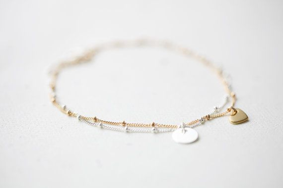 Delicate Gold Bracelet - simple and delicate beaded14k gold filled sa ...