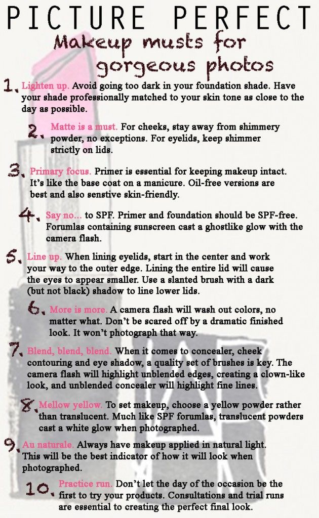 makeup tips for photos.  I love this list!