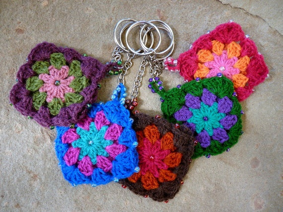 Key chains, 2 of them crochet together with beaded edges for $8.50 USD