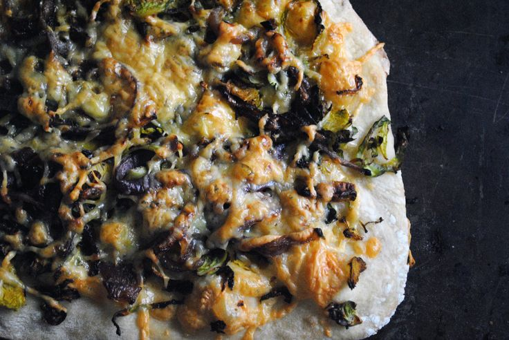 Brussels Sprouts, Smoked Gouda, and Caramelized Red Onion Pizza