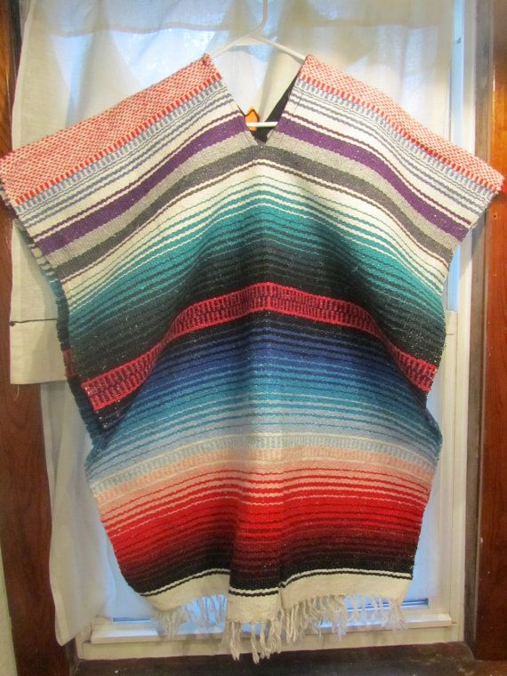 Colorful Vintage Mexican Blanket Poncho Shawl Cape by biscuitblues, $35.00