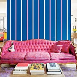 Pink Sofa and Vinyl Striped Walls