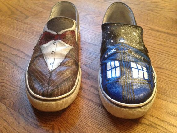 Custom Painted Doctor Who Shoes by SparkleCustomShoes on Etsy, $80.00