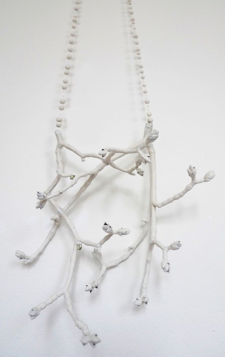 Linda Marie Karlsson Intothewoods_2012 _ branches copper-silver-peridots enamellaquer - porcelain pearls -pearlsilk _ 230x200x120mm http://www.lindamarie.se/