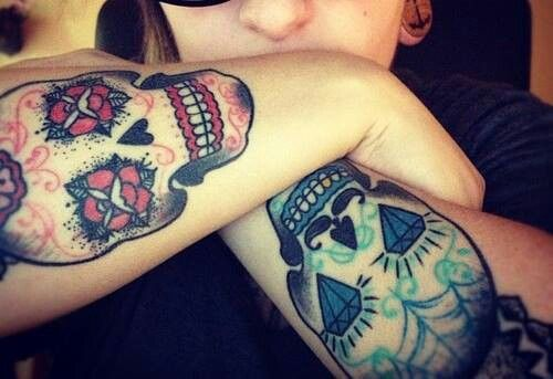 Matching Tattoos For Him And Her Matching skull tattoos for him
