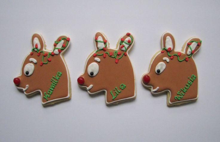 Reindeer cookies with names | christmas / winter cookies | Pinterest