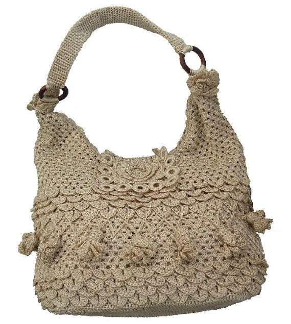 Handmade wool crochet hobo women light beige bag by Buzaitingle, $78 ...