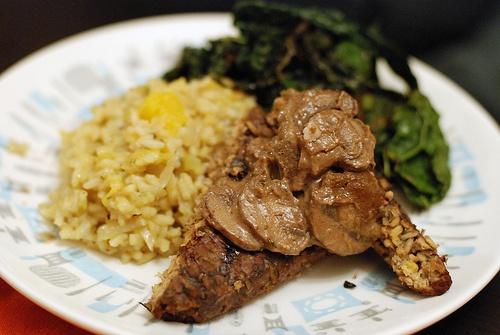 Grilled tempeh with rosemary-dijon-mushroom sauce, butternut squash ...