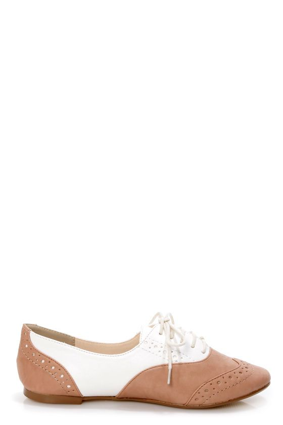 Restricted Sweet Pea Natural and White Saddle Shoe Flats